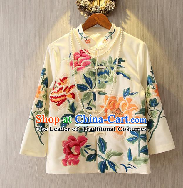 Chinese Traditional National White Cheongsam Shirt Tangsuit Stand Collar Embroidered Coats for Women