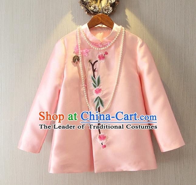 Chinese Traditional National Cheongsam Jacket Tangsuit Embroidered Pink Coats for Women