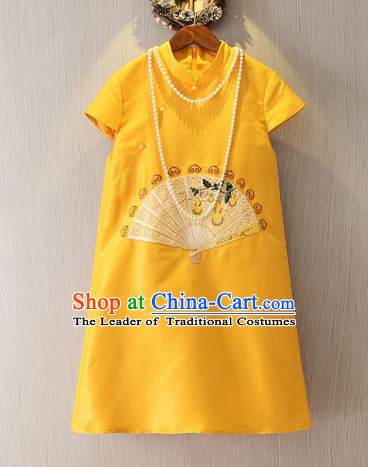 Chinese Traditional National Cheongsam Tangsuit Embroidered Yellow Short Dress for Women