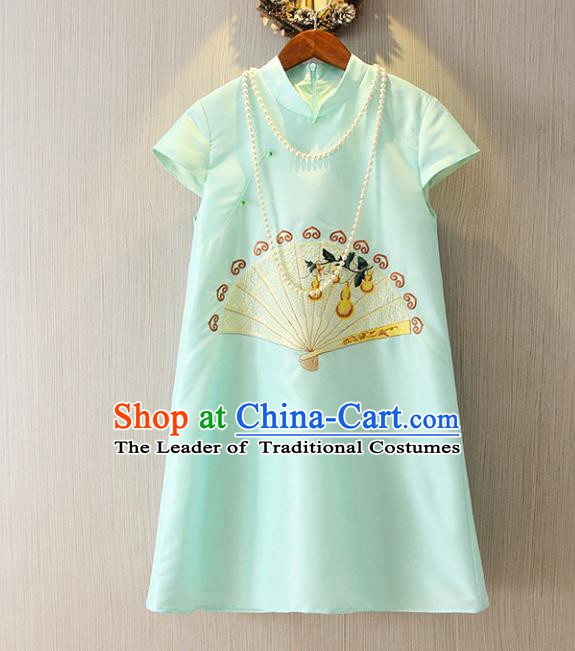 Chinese Traditional National Cheongsam Tangsuit Embroidered Blue Short Dress for Women