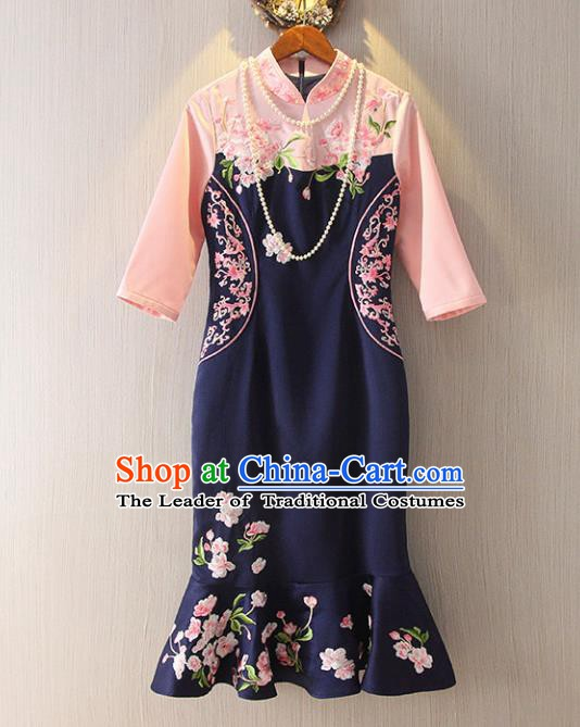 Chinese Traditional National Costume Navy Cheongsam Tangsuit Embroidered Short Dress for Women