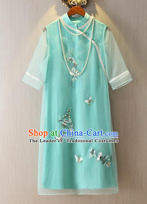 Chinese Traditional National Costume Green Cheongsam Tangsuit Embroidered Butterfly Short Dress for Women