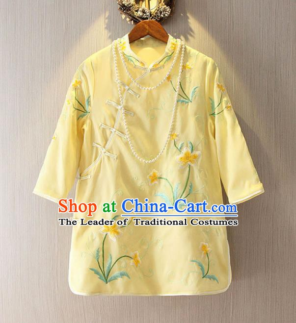 Chinese Traditional National Costume Cheongsam Blouse Tangsuit Embroidered Yellow Qipao Shirts for Women