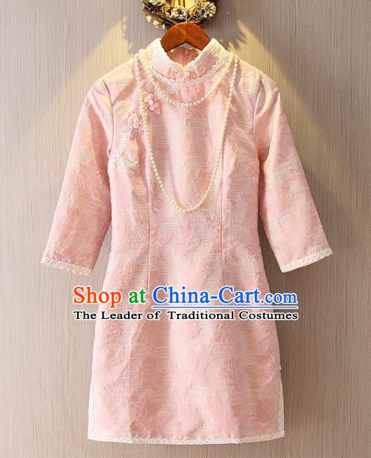 Chinese Traditional National Costume Pink Lace Cheongsam Tangsuit Embroidered Qipao Dress for Women