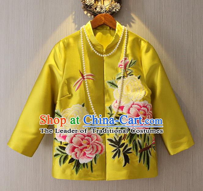 Chinese Traditional National Costume Yellow Cheongsam Jacket Tangsuit Embroidered Upper Outer Garment for Women