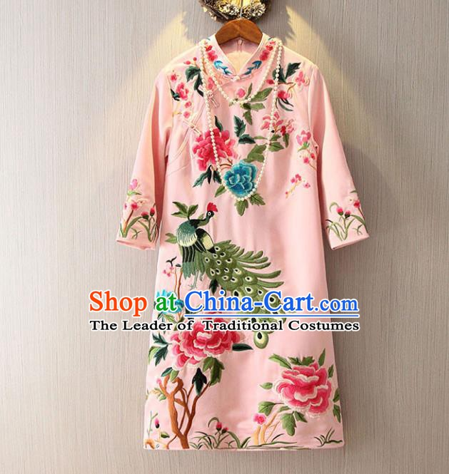 Chinese Traditional National Costume Pink Cheongsam Tangsuit Embroidered Peacock Dress for Women