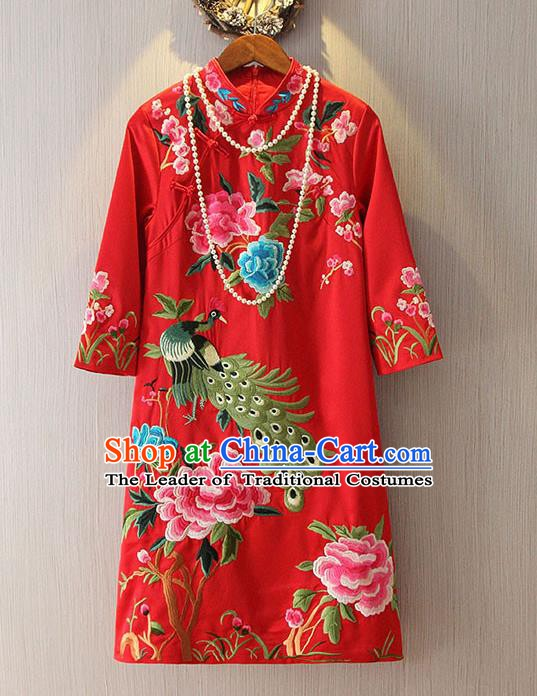 Chinese Traditional National Costume Red Cheongsam Tangsuit Embroidered Peacock Dress for Women