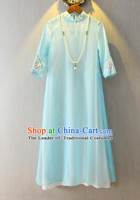 Chinese Traditional National Cheongsam Costume Tangsuit Blue Dress for Women