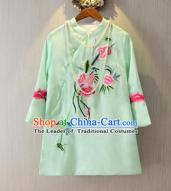 Chinese Traditional National Cheongsam Blouse Costume Embroidered Peony Tangsuit Green Shirts for Women