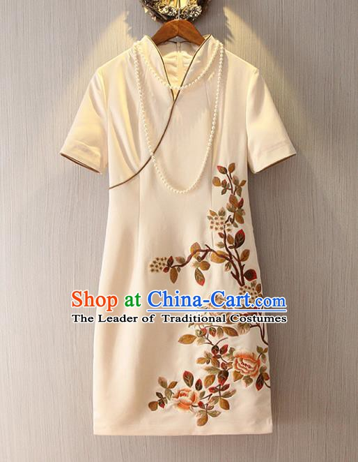 Chinese Traditional National Cheongsam Costume Embroidered Tangsuit Beige Dress for Women