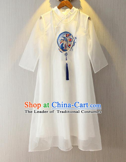 Chinese Traditional National Cheongsam Costume Tangsuit Embroidered White Dress for Women