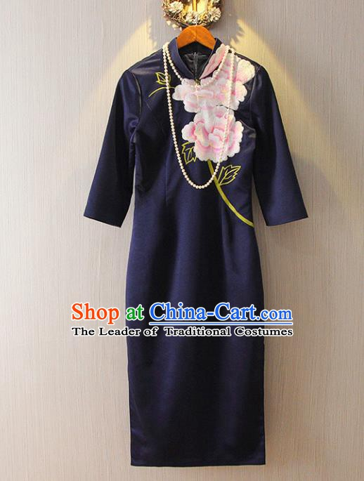 Chinese Traditional National Cheongsam Costume Tangsuit Embroidered Navy Dress for Women