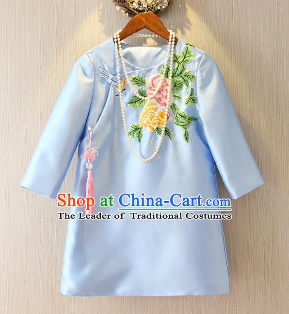 Chinese Traditional National Costume Cheongsam Blue Shirts Tangsuit Embroidered Qipao Blouse for Women