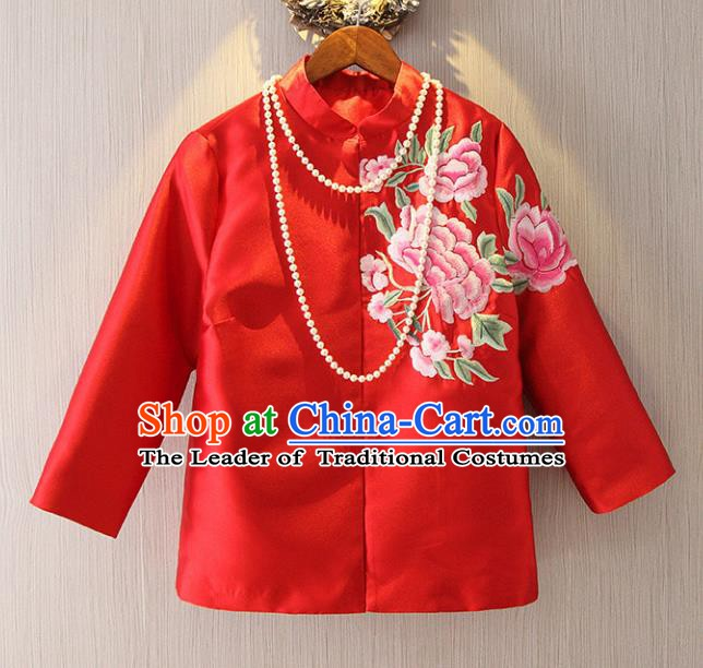 Chinese Traditional National Cheongsam Upper Outer Garment Tangsuit Qipao Embroidered Jacket for Women
