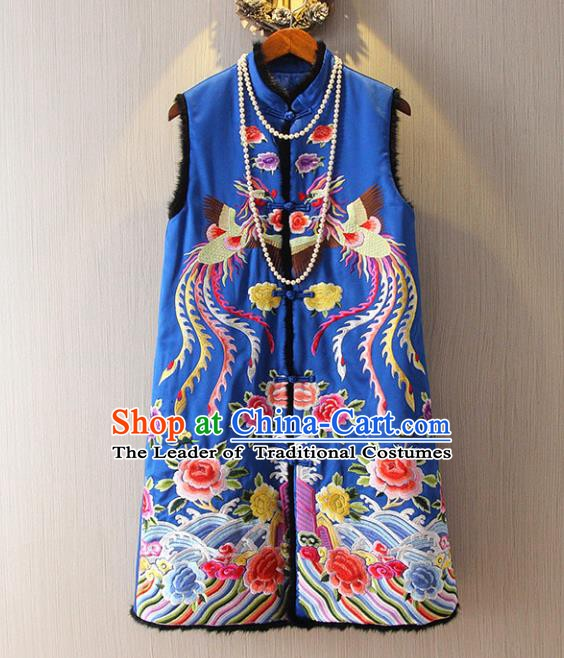 Chinese Traditional National Cheongsam Long Vest Tangsuit Embroidered Phoenix Blue Waistcoat for Women