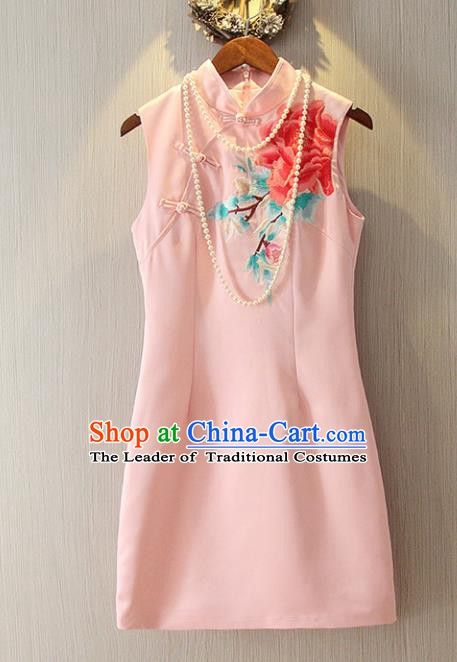 Chinese Traditional National Cheongsam Dress Tangsuit Embroidered Pink Qipao for Women