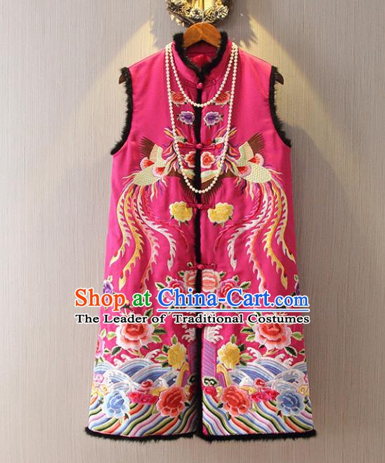 Chinese Traditional National Cheongsam Long Vest Tangsuit Embroidered Phoenix Rosy Waistcoat for Women