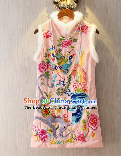 Chinese Traditional National Cheongsam Pink Dress Tangsuit Embroidered Qipao for Women