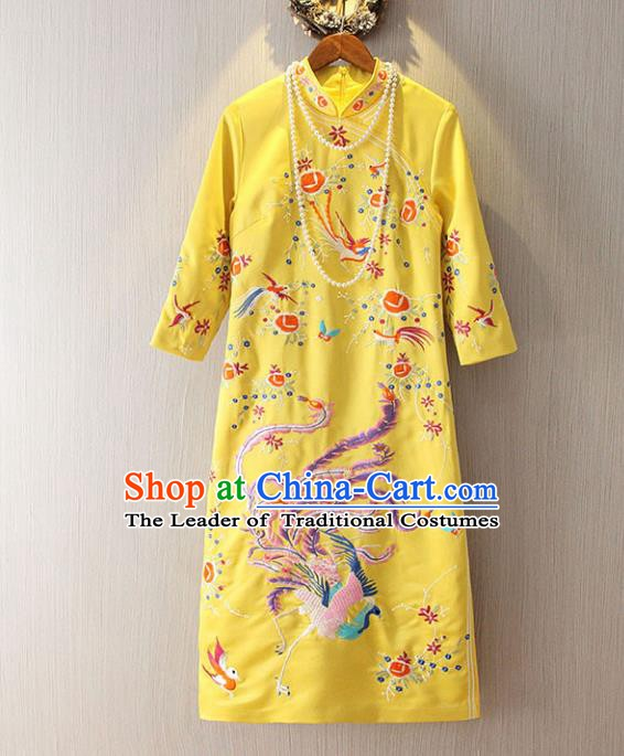 Chinese Traditional National Cheongsam Dress Tangsuit Embroidered Phoenix Yellow Qipao for Women