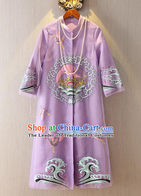 Chinese Traditional National Costume Tangsuit Embroidered Purple Dust Coat for Women