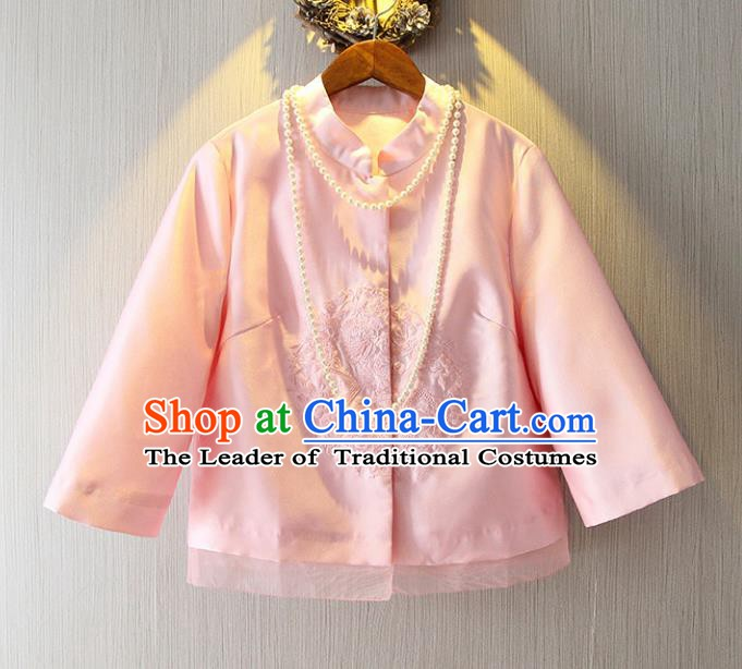 Chinese Traditional National Costume Cheongsam Pink Shirts Tangsuit Embroidered Blouse for Women