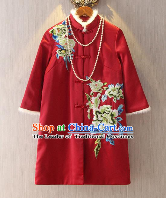 Chinese Traditional National Costume Tangsuit Embroidered Red Cotton-padded Jacket for Women