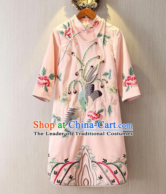 Chinese Traditional National Costume Pink Cheongsam Tangsuit Embroidered Qipao Dress for Women