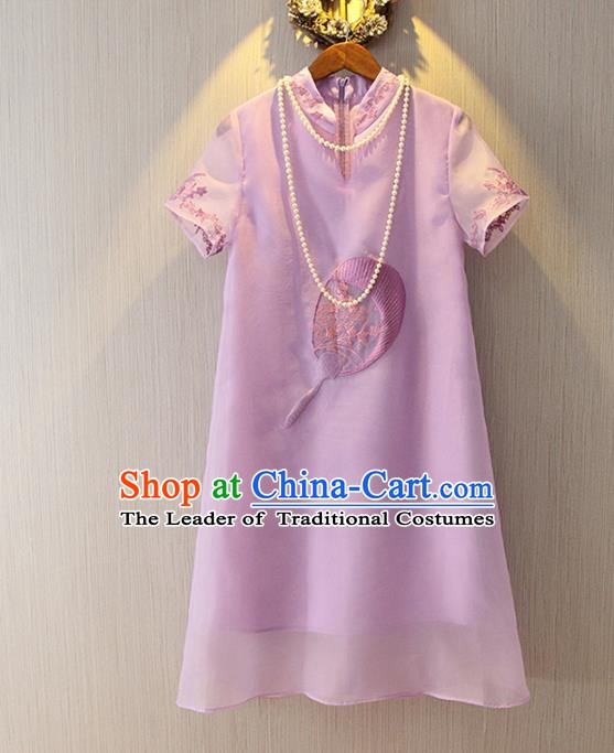 Chinese Traditional National Costume Cheongsam Dress Tangsuit Embroidered Purple Qipao for Women