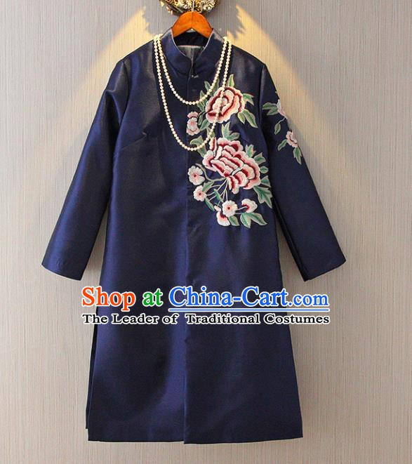 Chinese Traditional National Costume Tangsuit Embroidered Navy Dust Coat for Women