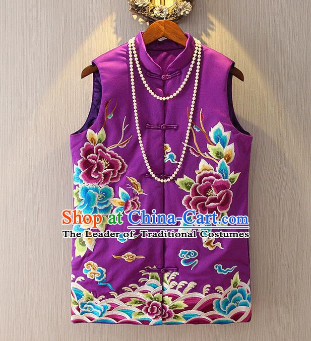 Chinese Traditional National Cheongsam Purple Vest Tangsuit Embroidered Peony Waistcoat for Women