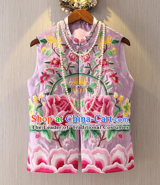 Chinese Traditional National Cheongsam Lilac Vest Tangsuit Embroidered Peony Waistcoat for Women