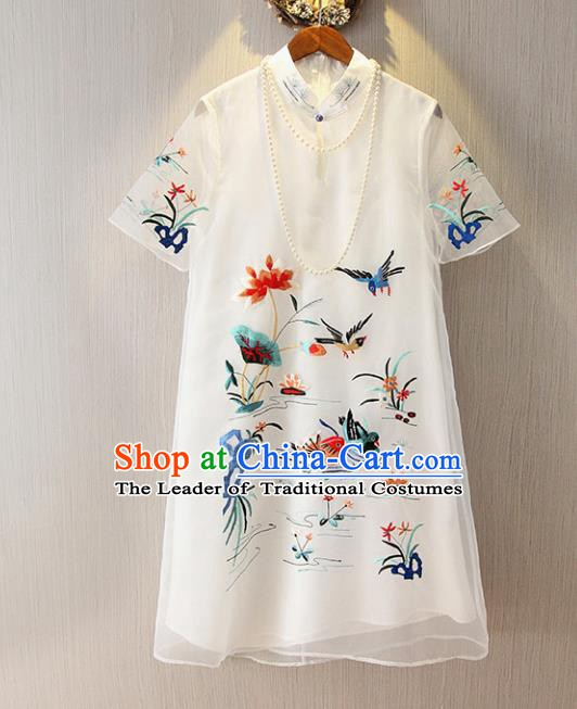 Chinese Traditional National Costume White Cheongsam Tangsuit Embroidered Mandarin Duck Dress for Women