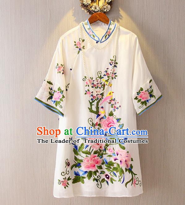Chinese Traditional National Costume White Cheongsam Blouse Tangsuit Embroidered Peony Shirts for Women