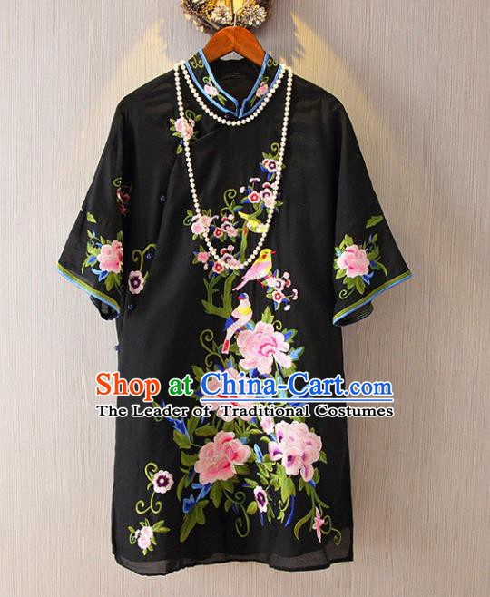 Chinese Traditional National Costume Black Cheongsam Blouse Tangsuit Embroidered Peony Shirts for Women