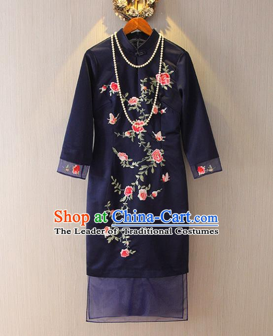 Chinese Traditional National Costume Tangsuit Embroidered Navy Cheongsam Dress for Women