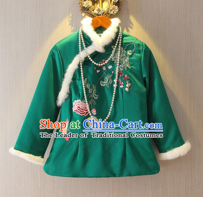 Chinese Traditional National Costume Tangsuit Embroidered Upper Outer Garment Shirts for Women