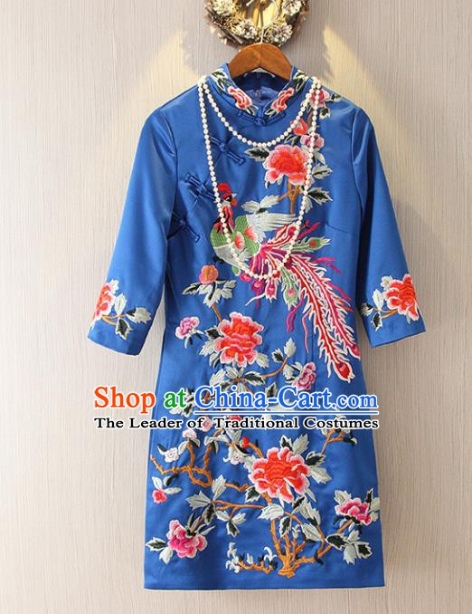 Chinese Traditional National Costume Tangsuit Embroidered Phoenix Peony Blue Cheongsam Dress for Women