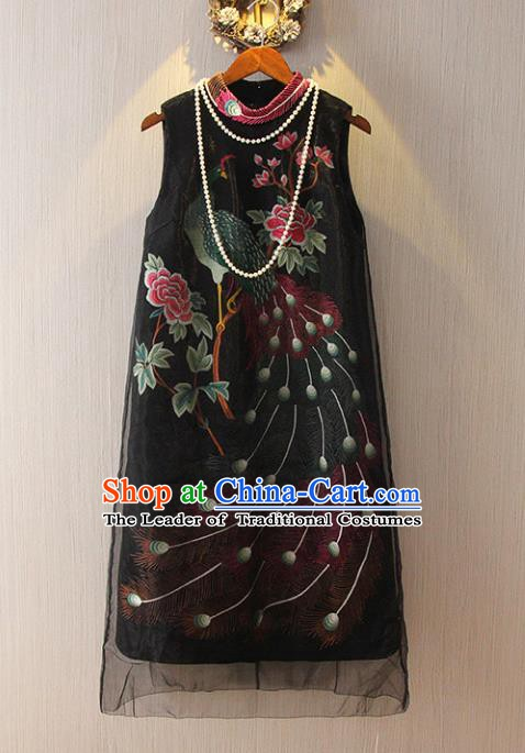 Chinese Traditional National Costume Tangsuit Black Cheongsam Dress for Women