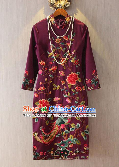 Chinese Traditional National Costume Tangsuit Amaranth Embroidered Cheongsam Dress for Women
