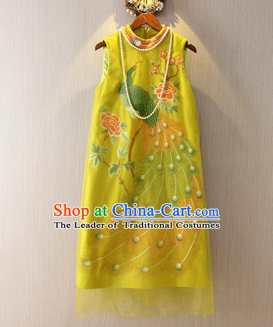 Chinese Traditional National Costume Tangsuit Yellow Cheongsam Dress for Women