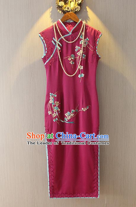 Chinese Traditional National Costume Red Qipao Tangsuit Embroidered Cheongsam Dress for Women