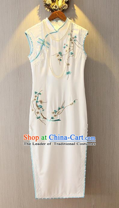 Chinese Traditional National Costume White Qipao Tangsuit Embroidered Cheongsam Dress for Women