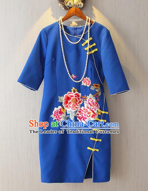 Chinese Traditional National Costume Blue Cheongsam Tangsuit Embroidered Peony Qipao Dress for Women