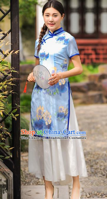 Chinese Traditional National Costume Printing Cheongsam Tangsuit Qipao Dress for Women