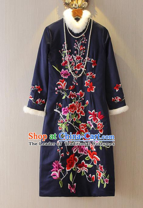 Chinese Traditional National Costume Embroidered Navy Cheongsam Tangsuit Qipao Dress for Women