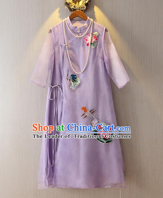 Chinese Traditional National Costume Embroidered Purple Cheongsam Tangsuit Qipao Dress for Women