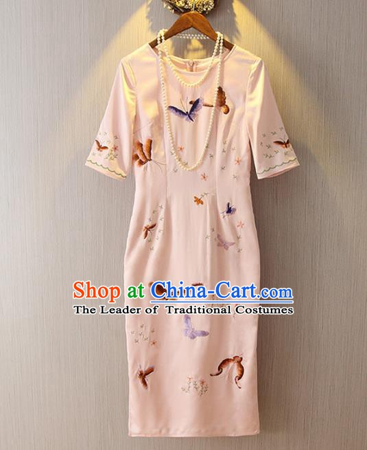 Chinese Traditional National Costume Embroidery Butterfly Pink Cheongsam Qipao Dress for Women