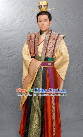 Chinese Ancient Emperor Wuzong of Tang Dynasty Li Chan Replica Costume for Men