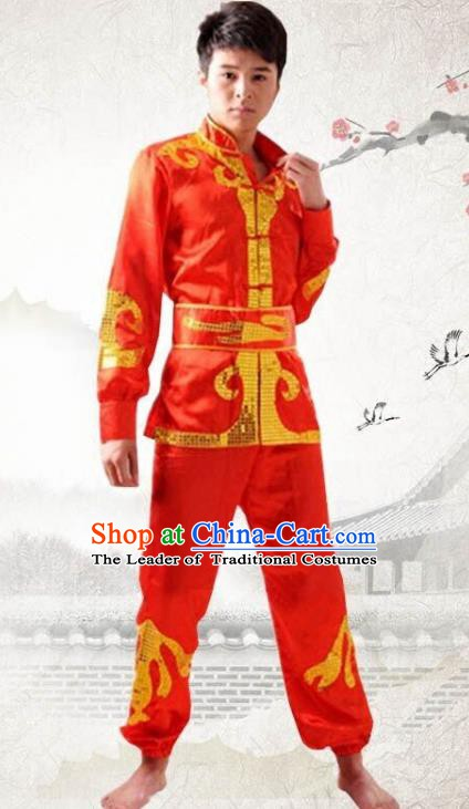 Traditional Chinese Yangge Dance Fan Dance Costume, Folk Drum Dance Dragon Boat Red Uniform Yangko Clothing for Men