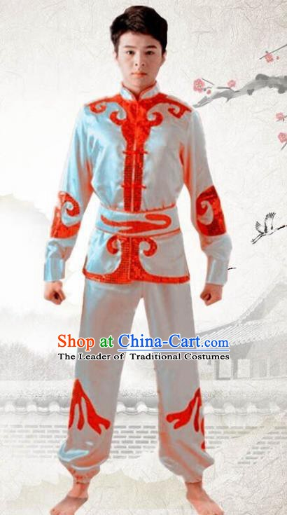 Traditional Chinese Yangge Dance Fan Dance Costume, Folk Drum Dance Dragon Boat White Uniform Yangko Clothing for Men